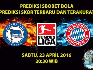 Prediksi Skor Hertha Berlin VS Bayern Munchen 23 April 2016
